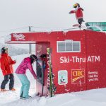 World'-s only Ski-Thru ATM returns to Whistler Blackcomb with a -twist- as CIBC supports Canadian ski team athletes with a Twitter enabled, snowboarding penguin. (CNW Group/CIBC)