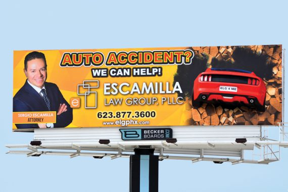 Media Resources 3D Printed Mustang and Large Format Print Billboard