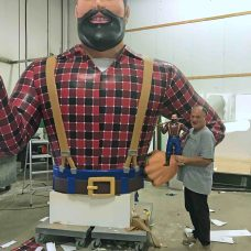 Printing, Fabrication, Creation and Building of a giant 3D Printed and 3D Carved Paul Bunyan Statue
