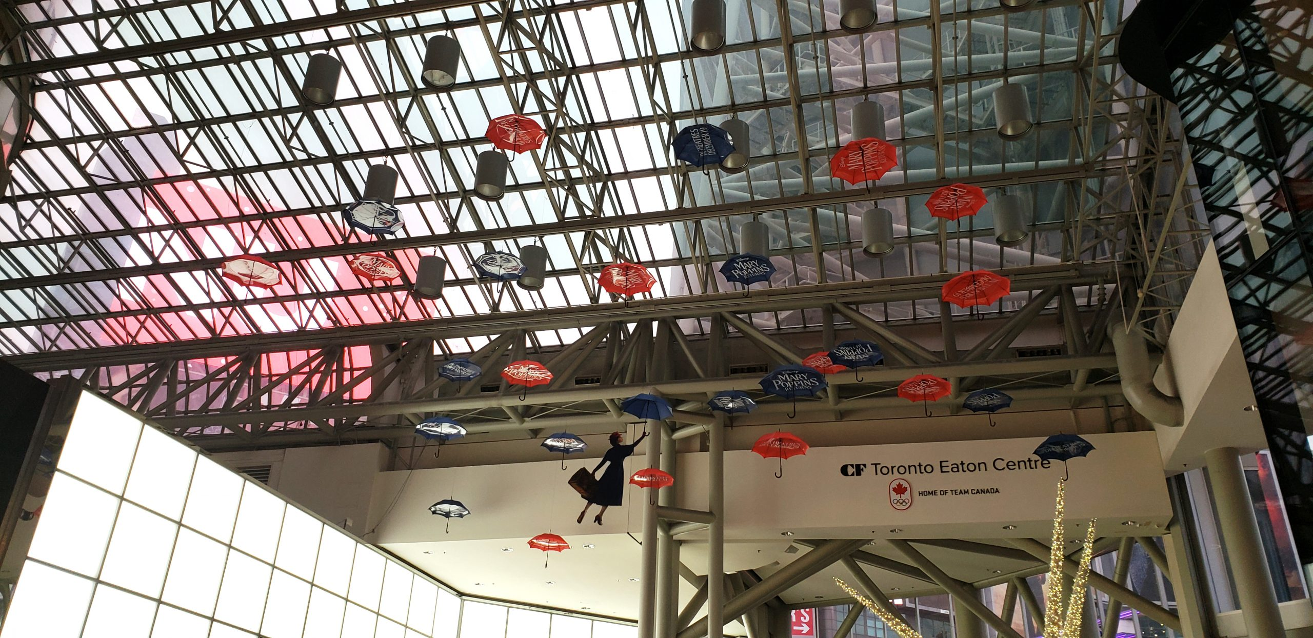 Media Resources installed these promotional elements for Mary Poppins Returns in Toronto's Eaton Centre