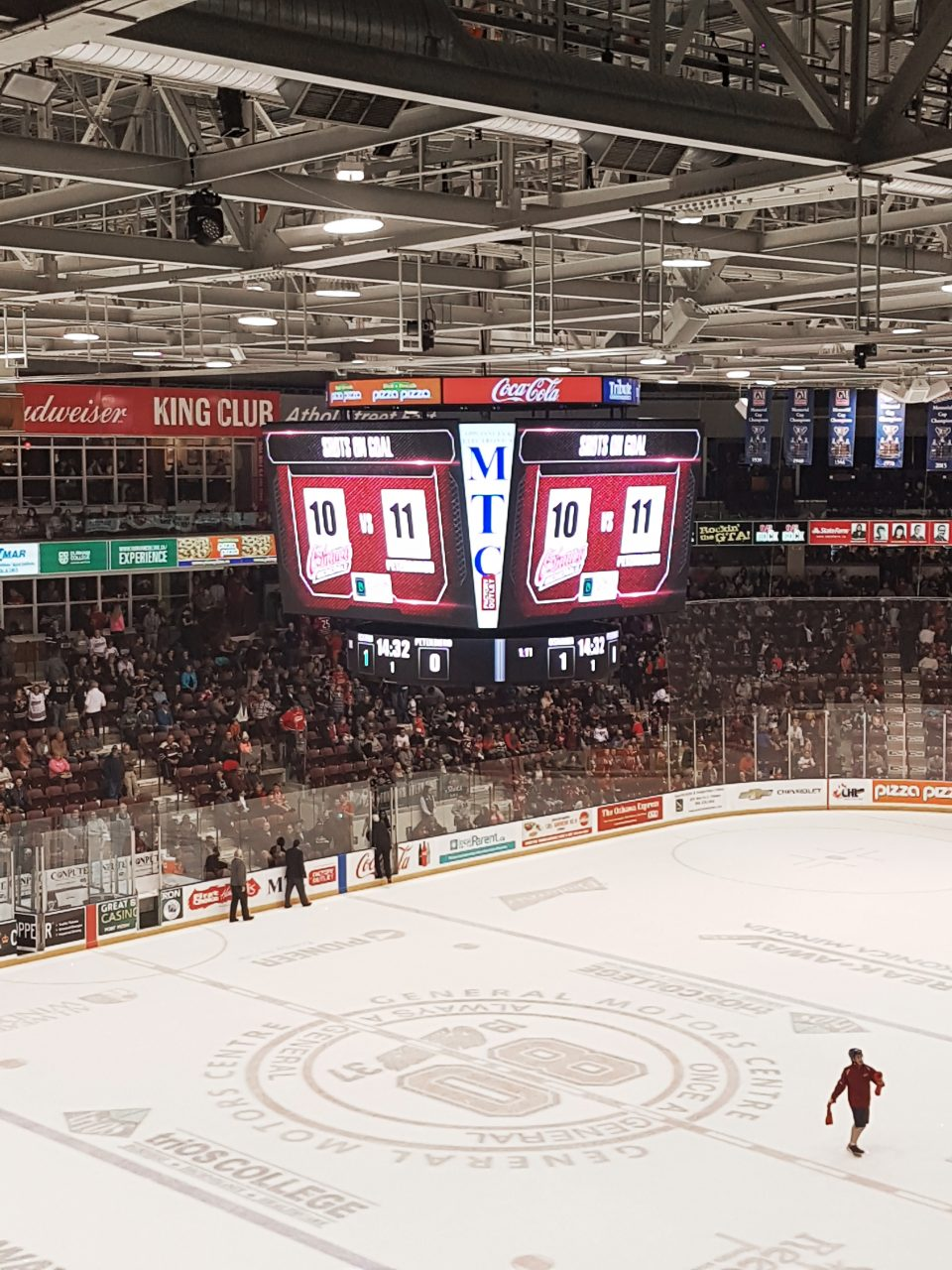 Scoreboard in the Oshawa Generals hockey arena
