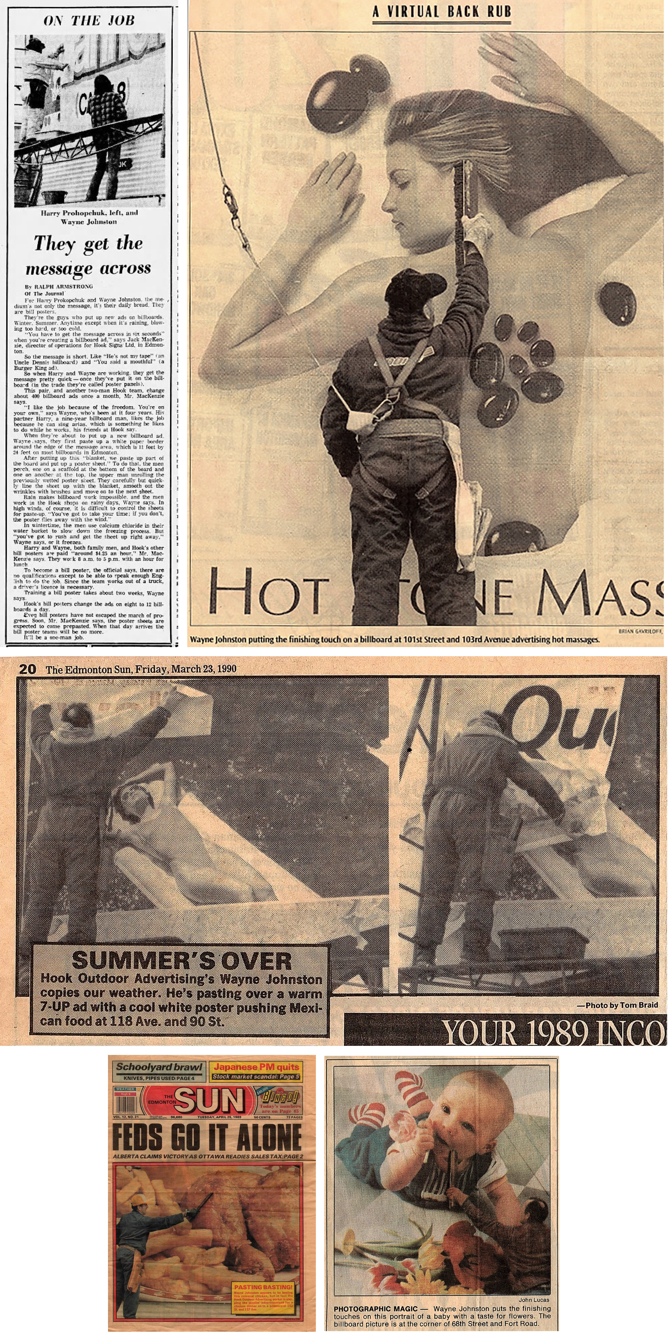 newspaper clippings of bill poster Wayne Johnston at work