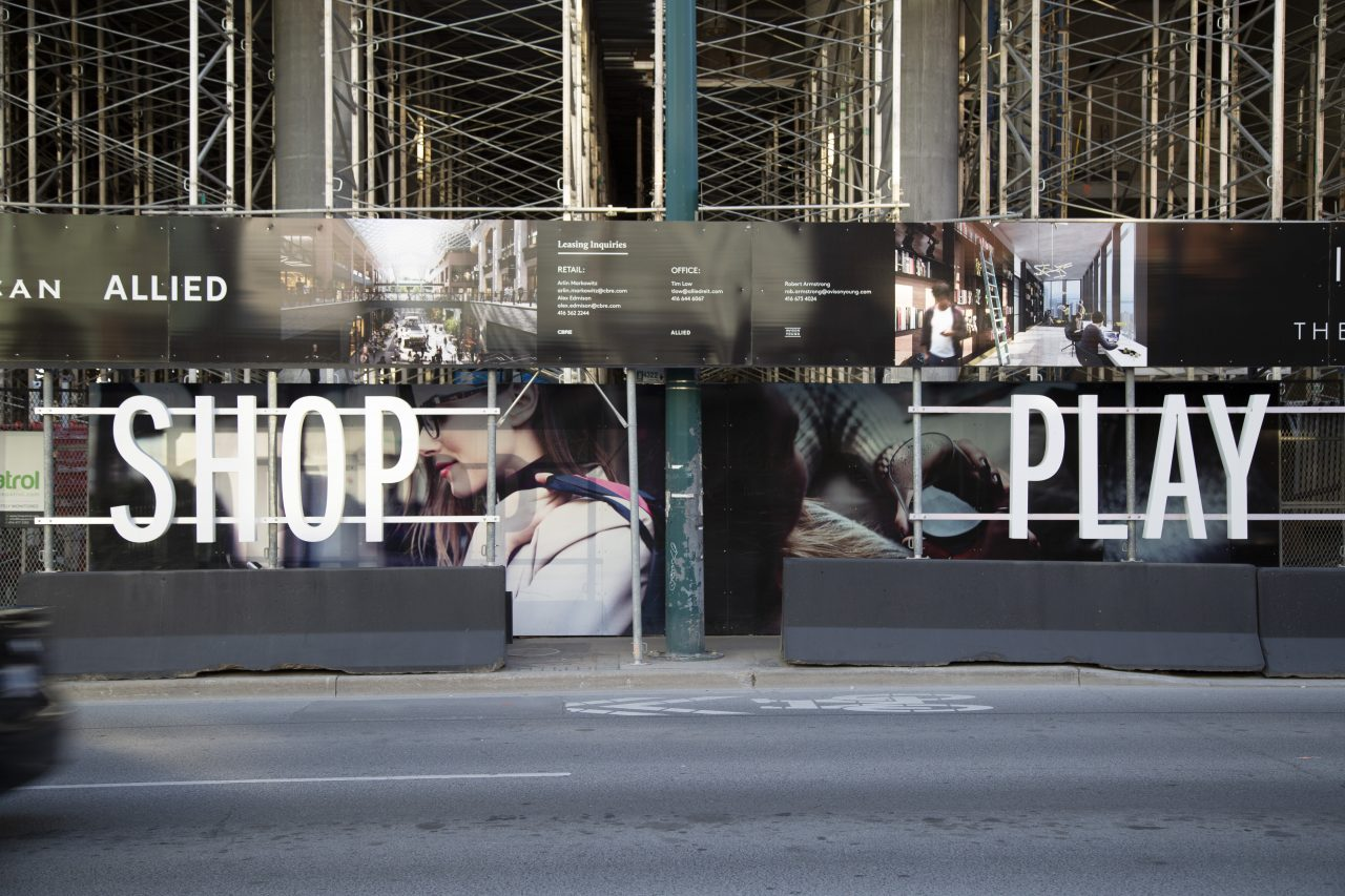 Print and 3D letter hoarding for The Well in Toronto