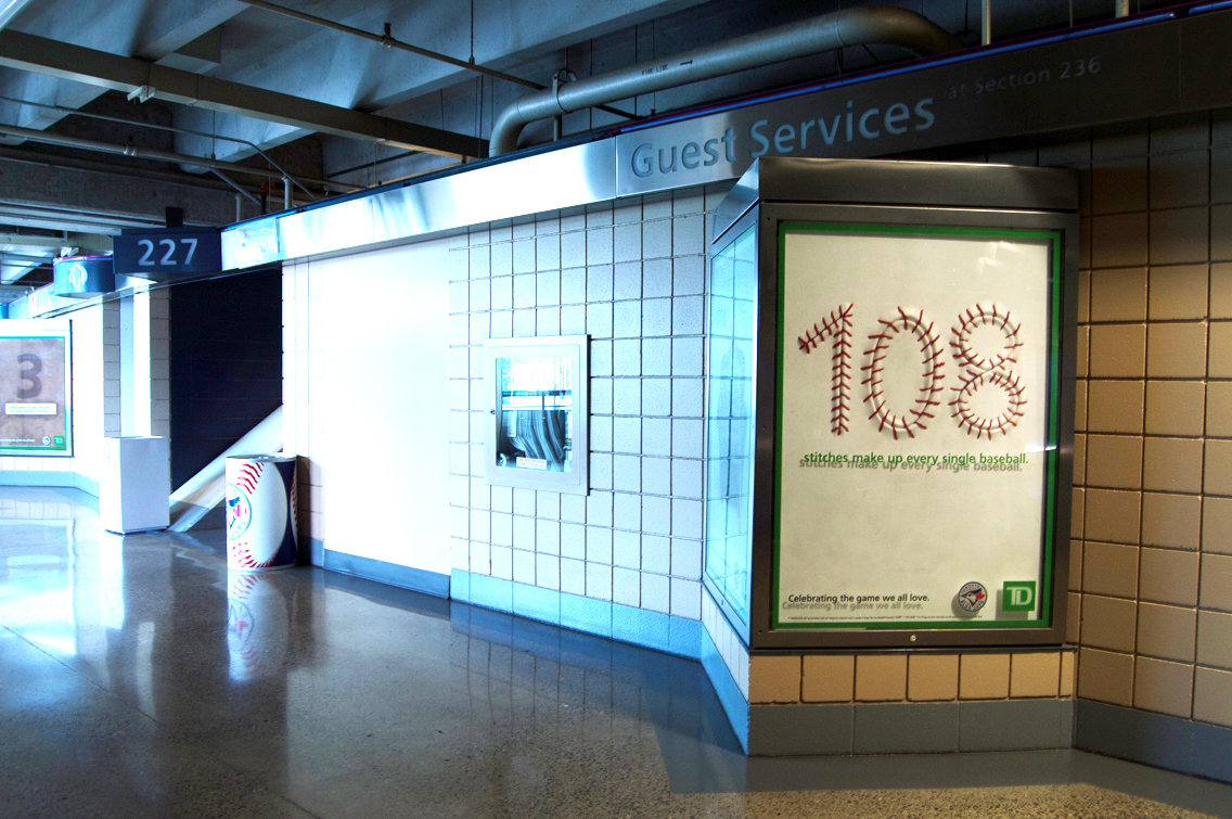 Creative baseball themed advertising for the Toronto Blue Jays and TD Bank in the Rogers Centre in Toronto, ON