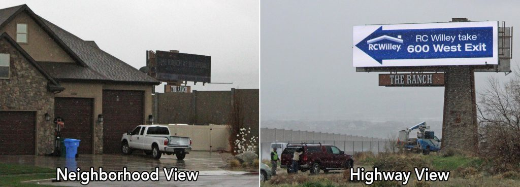 Comparison of Utah SITELINE project from the highway and from the neighbourhood