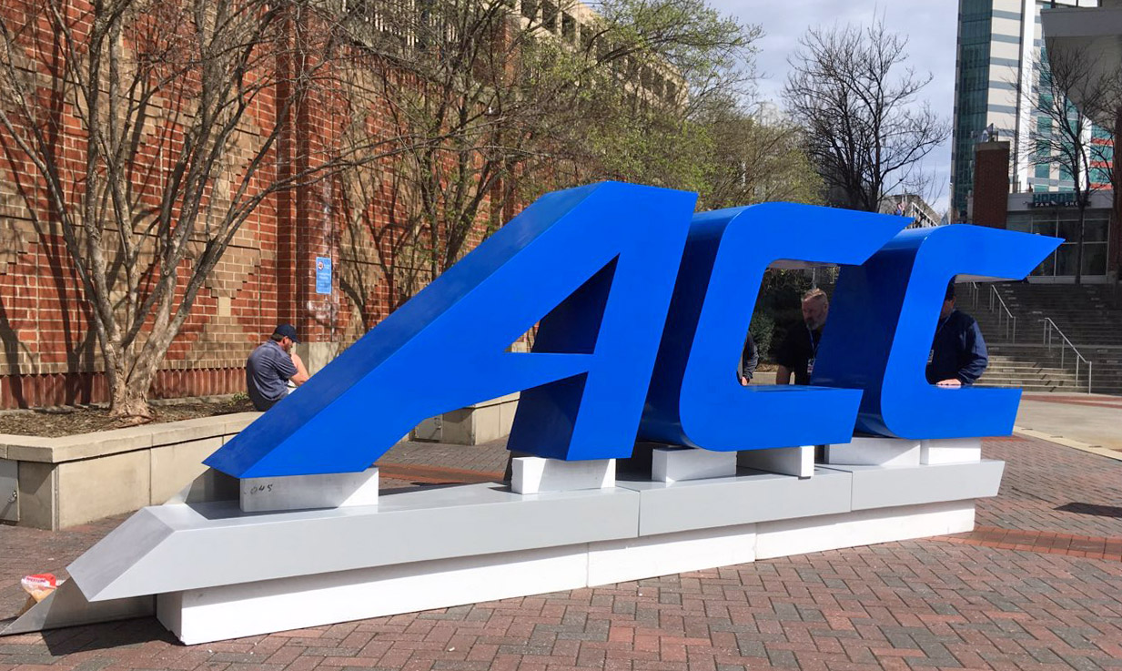 Atlantic Coast Conference (ACC) logo 3D printed monument in Charlotte, NC