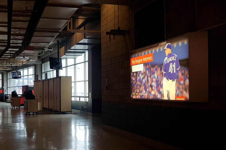 backlit print ad for toronto blue jays at the rogers centre