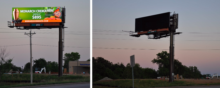 a vibrant digital LED billboard juxtaposed against the same billboard from a different angle where the SITELINE technology dims the board for the viewing angle
