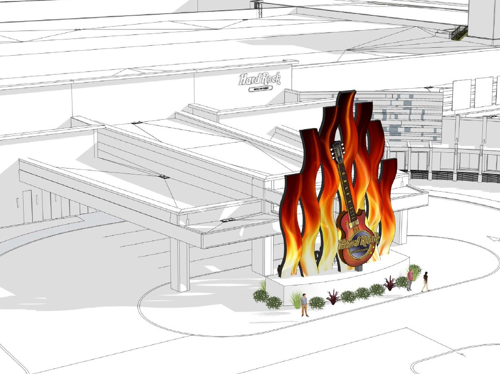 Artists concept of the Hard Rock display shows a greyscale drawing of the building with brightly coloured flames on curved LEDs with a guitar in front