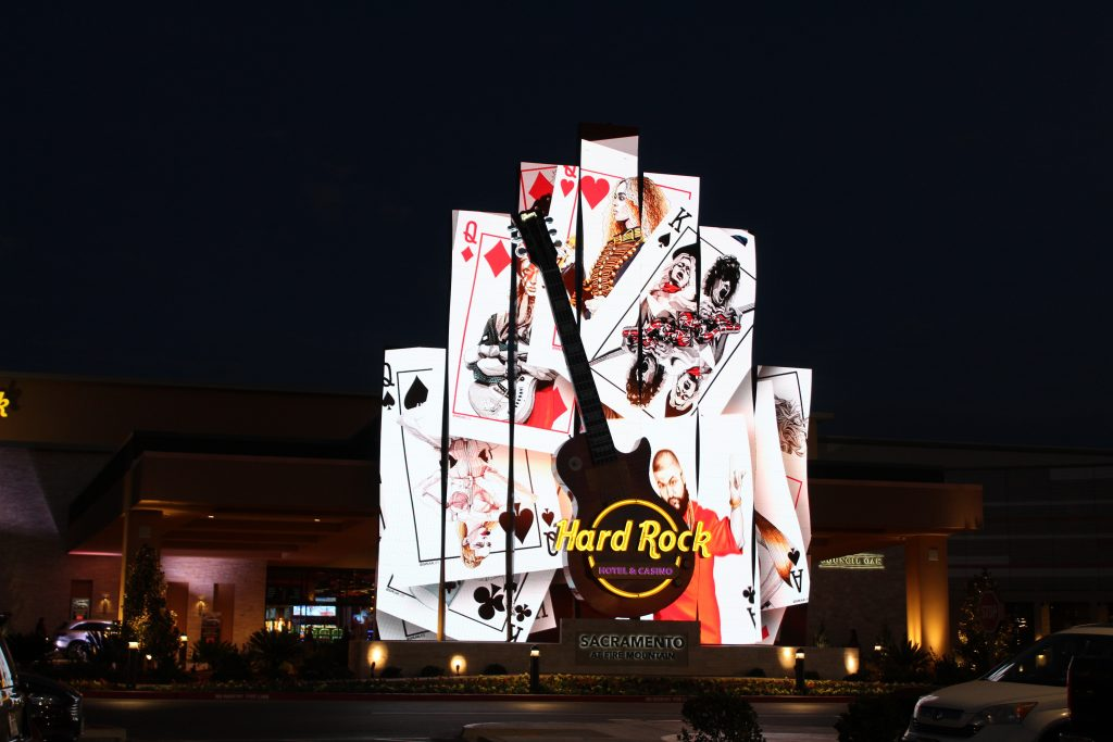 Curved LED flames display playing cards at the Hard Rock Sacramento