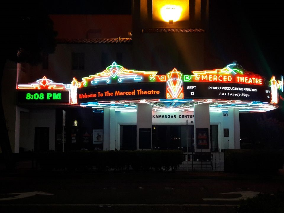 Merced Theater's new LED marquee signs at night