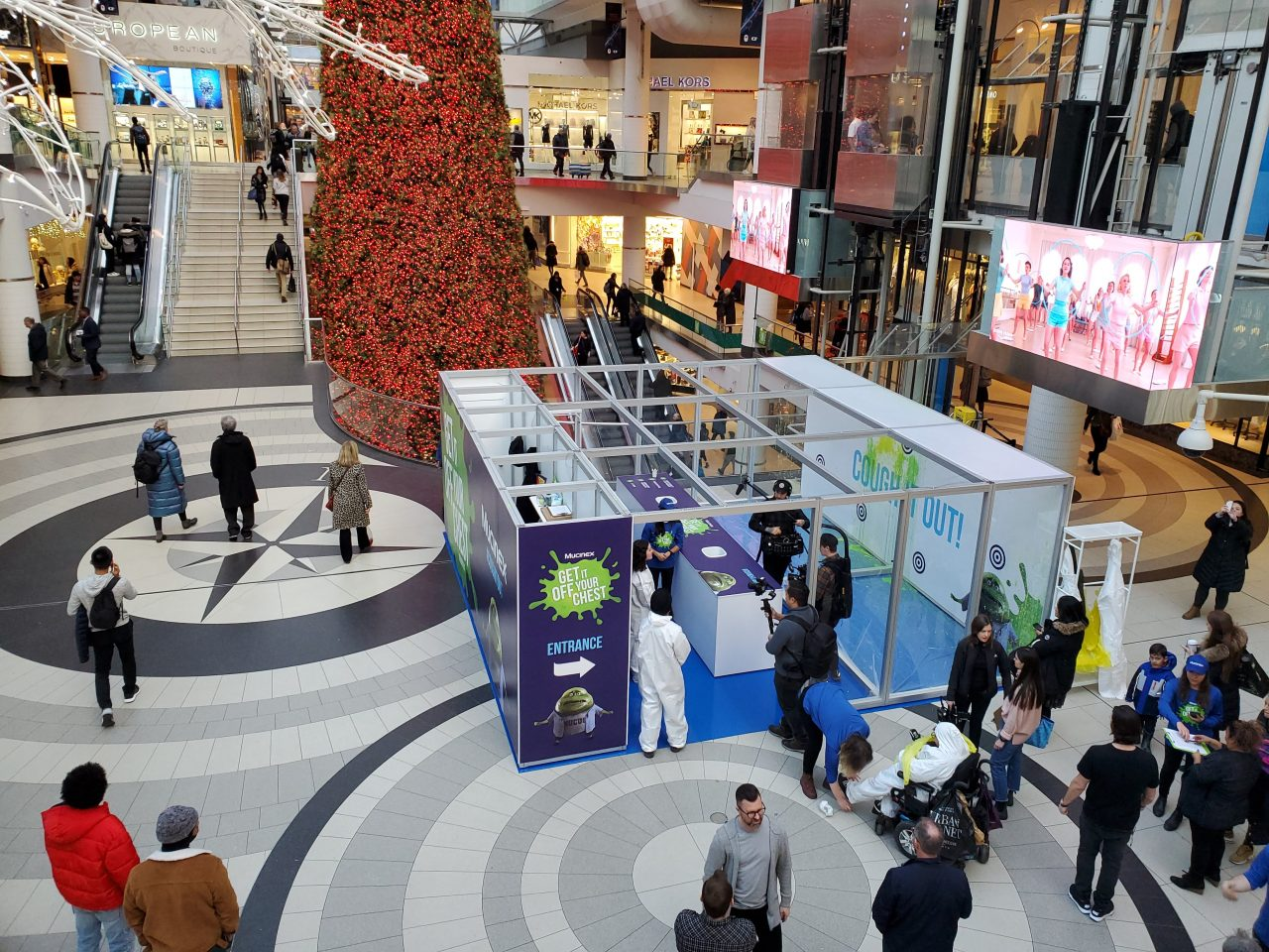 Printed Mucinex pop-up booth in Eaton Centre, Toronto, ON