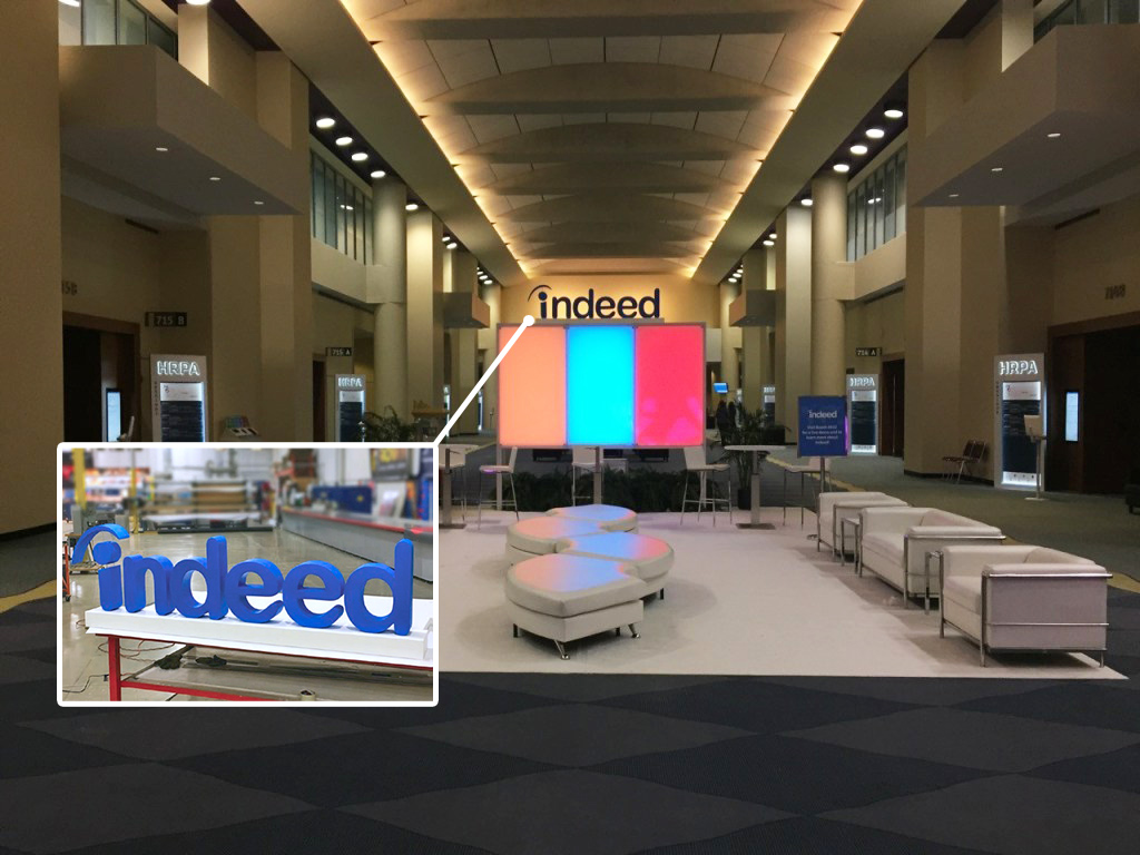 3D printed logo for the Indeed trade show booth