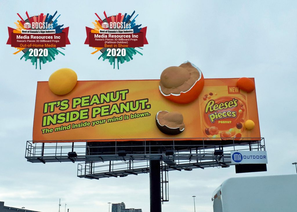 3D Reese's Pieces billboard awarded Out-of-Home Media and Best in Show for the 2020 BOCSIes