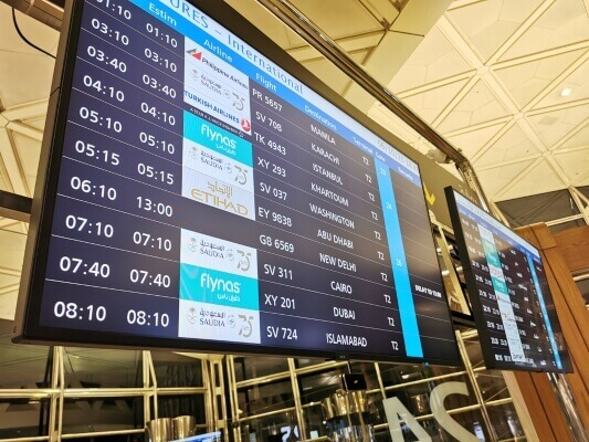Airport Digital Flight and Departure Gate Boards or Display Schedule