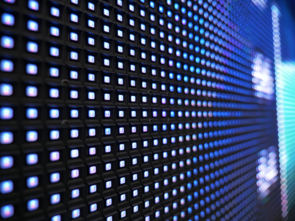 RGB smd LED lights, with white and blue colors. Pixel Pitch Leds. Background texture. Perspective View