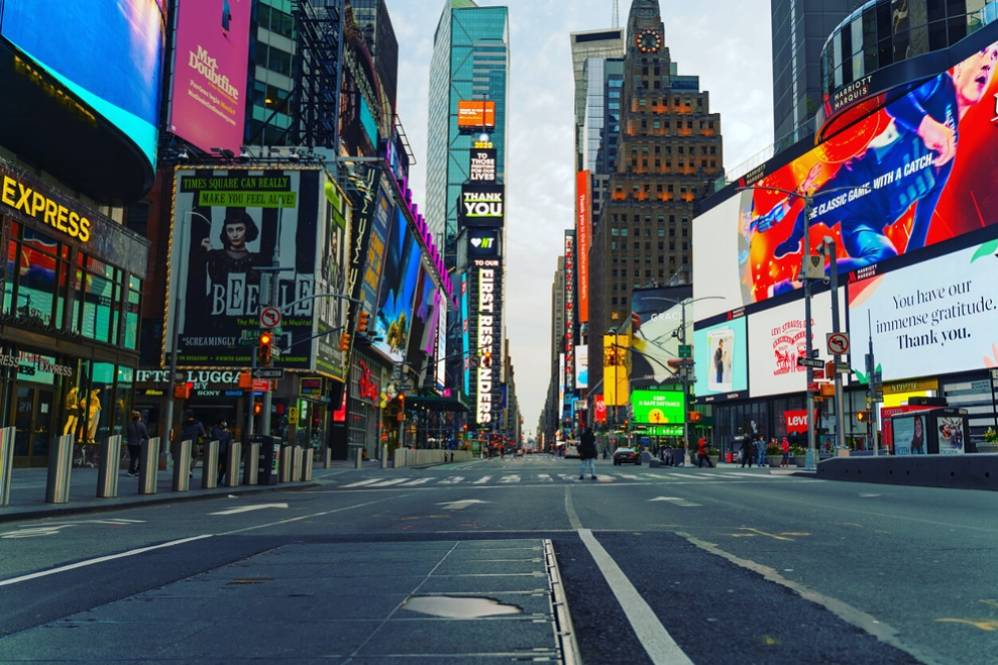 A View of Eerily Quiet and Empty Times Square